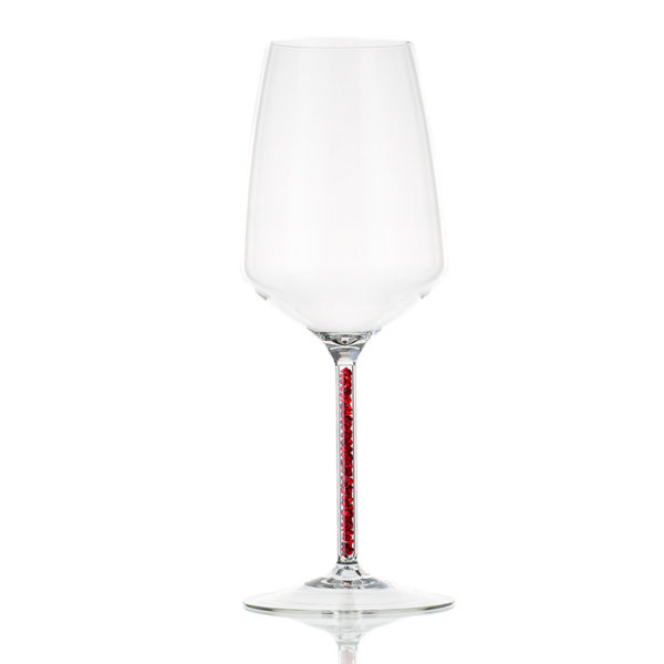 Huskaglass Wineglass with red crystals 450ml