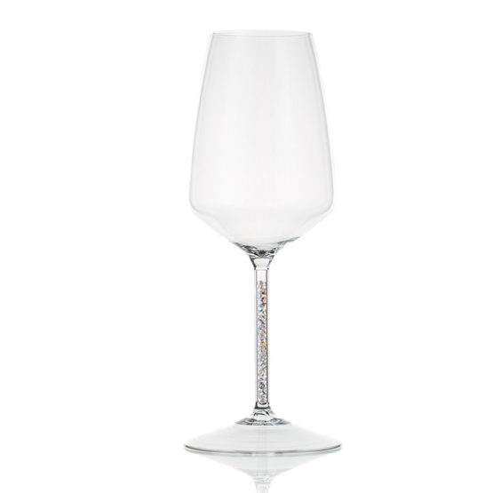 HANDMADE WINEGLASS WITH WHITE / SILVER CRYSTALS
